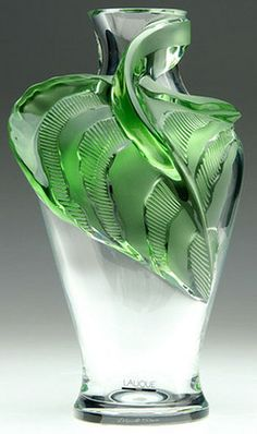 """""""Tanega Vase""""    Designed by ~Laique Glass~  [A Lalique vase, 'Tanega,' clear with applied bright green glass.  1988 desgined.  Made in *France.*  14 inches tall.]"""