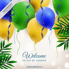 Bright background with colors balloons of brazil Free Vector