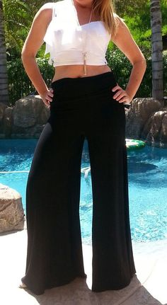 fbc0ec2ebf6 Maya Antonia-Plus Size-Palazzo Pants Black Slimming Wide Leg Extra Long Palazzo  Pants