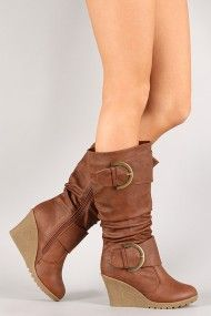 Pure-65 Buckle Wedge Mid Calf Boot