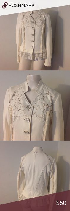 "Save the Queen Lace Trim Blazer Jacket M L Beautiful blazer/jacket by Save the Queen. Ivory with flower buttons and lace trim. Great condition! Marked size L but runs smaller. Chest 35"" Length 23"" Fabric is cotton/elastane and is stretchy. Save the Queen Jackets & Coats Blazers"
