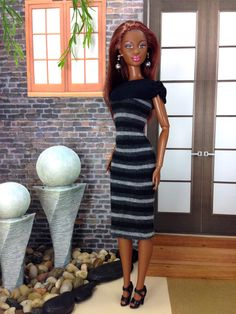 Fashion Doll Dress - Striped Doll Dress, Black with Dark and Light Gray, Shoes, and Earrings. by EnchantedStyles on Etsy