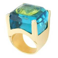 Peridot Blue Topaz Inset Ring  USA  21st Century  KARA ROSS - This ring is part of the designer's inset series in which she sets gemstones inside of other gemstones - playing with the color and different cuts of stones. The hand crafted 18k gold setting has pave diamonds in each of the 4 prongs. Signed by Designer.