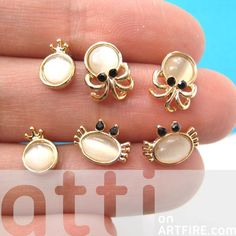 $10 Small Crab Squid Sea Animal Stud Earring 6 Piece Set with Pearl Detail