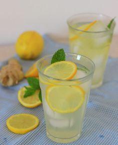 Citroen Gember Lemonade | De Bakparade Healing Herbs, Stevia, Lemonade, Glass Of Milk, Panna Cotta, Homemade, Fruit, Ethnic Recipes, Food