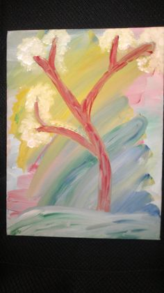 A colorfully blended painting with a tree bending in by KSKearns, $18.00