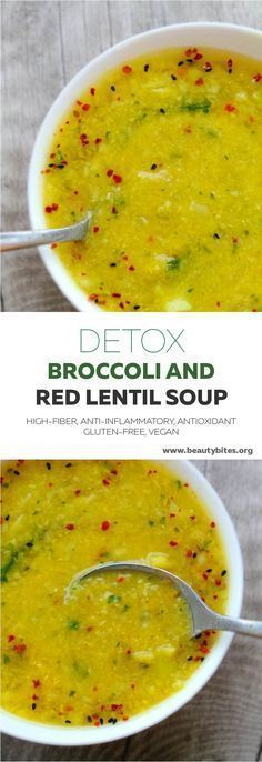 Detox soup recipe with broccoli and red lentils - delicious, warming, but also anti-inflammatory, high-fiber and antioxidant-rich. Also vegan paleo lunch warm