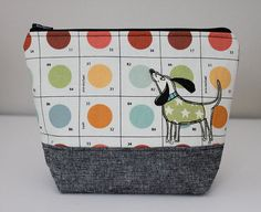 Dog Applique Zipper Pouch   Painter's Pallet by ThreeGoobers, $18.00