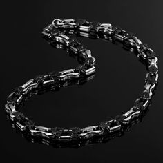 Impressive Stainless Steel Biker Style Mens Chain Silver Black Necklace