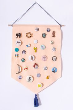 Your pin collection can double as wall art when you make this DIY pin storage banner. Pin Collection Displays, Sewing Crafts, Diy Crafts, Anime Crafts, Diy Banner, Diy Buttons, Diy Pins, It Goes On, Button Art