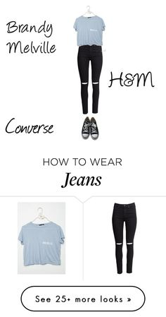 """H&M Skinny High Ripped Jeans"" by mavila028 on Polyvore featuring Converse and H&M"