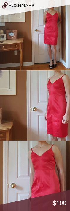 """NWT Sue Wong Red Cocktail Dress Brand new with tags!  Pics are in various lighting, with and without flash, so you can get an idea of the shade of red. Actual color is hard to capture on camera. Lovely details. Adjustable straps. Zips in back. Polyester/spandex.  Approximate measurements when flat: Overall length 36 1/2"""" 16 1/4"""" top of bodice 14 1/2"""" bottom of bodice 9 3/4"""" between straps 4 3/4""""'strap length (as shown)  For reference, I'm 5'6 and a 34b-27-37 and I'd need this altered down…"""