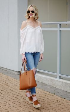 WAYF white cold shoulder blouse, distressed jeans, Marc Fisher wedges, Tory burch tote