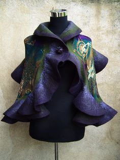 Hand felted wool violet and green ruffle scarf