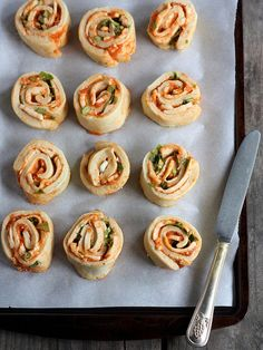 Margherita Pizza Wheels (with tomato, basil, and mozzarella) by Completely Delicious, via Flickr