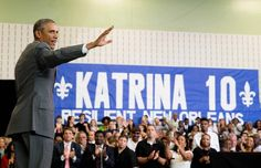 Former President Barack Obama waves to supporters after delivering remarks at an event commemorating the 10th anniversary of Hurricane Katrina in New Orleans in 2015. Obama, who was a U.S. senator at the time of the hurricane, has been blamed for the federal response to the disaster in a flurry of bizzarre and counter-factual Twitter posts.