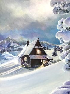Original oil painting Christmas gift images evening in Alps, snow, mountains, house.Wall decor Christmas Gift Images, Christmas Gifts, Winter Fairy, House Wall, Most Beautiful Cities, Alps, Oil On Canvas, Fairy Tales, Backdrops