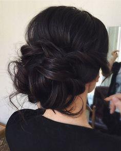 messy bridal updo, dark hair