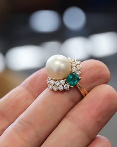 Emerald diamond and South Sea pearl ring from upcoming auction this Fall. Emerald diamond and South Sea pearl ring from upcoming auction this Fall. Ruby Engagement Ring Vintage, Floral Engagement Ring, Shop Engagement Rings, Diamond Wedding Rings, Diamond Bands, Halo Diamond, Emerald Diamond, Pearl And Diamond Ring, Emerald Cut