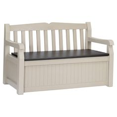Selecting the right outdoor storage bench can be a challenge. But not with the Patio Bench with Arm Rest and Storage Box in Beige Resin! Garden Storage Bench, Wood Storage Bench, Outdoor Storage, Furniture Storage, Deck Storage, Toy Storage, Storage Boxes, Resin Patio, Patio Bench