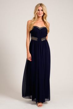 Little Mistress Navy Embellished Detail Waterfall Drape Bandeau Maxi Dress code: AW13-AAD030-78 £70.00 (FREE UK DELIVERY)