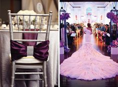 The Ultimate Guide For A Fabulous Purple Wedding - Belle the Magazine . The Wedding Blog For The Sophisticated Bride - LOVE the chair bow