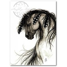 Majestic Horses Dapple Grey Paint Native Feathers ArT Prints by Bihrle... ($20) ❤ liked on Polyvore featuring home, home decor, wall art, grey wall art, gray wall art, horse home decor, grey home decor and feather wall art