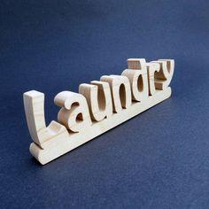 wooden laundry sign shelf sitter by manwood on Etsy, $10.00