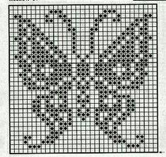 Filet Crochet, Bobble Crochet, Crochet Chart, Thread Crochet, Crochet Motif, Crochet Stitches, Butterfly Cross Stitch, Crochet Butterfly, Cross Stitch Borders