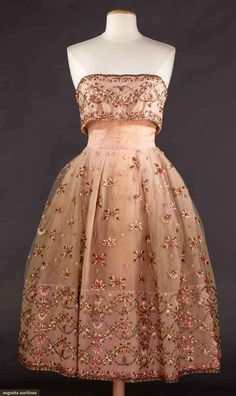 COUTURE STRAPLESS PARTY DRESS, 1950s Unlabeled, embroidery in pink floss, tinsel, tiny sequins & jewels, built-in corset, multiple stiffened petticoats