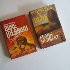 Vintage book club edition hardcovers in VG condition. (Minor wear on dust jackets) $15.00 for both #books #booksforsale #instabooks #bookstagram #classics #scifi #sciencefiction #dune #frankherbert #DuneMessiah #GodEmperorofDune by oncearoundbookshop