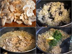 Kasza pęczak z pieczarkami (Pęczotto z pieczarkami) Risotto, Stuffed Mushrooms, Food And Drink, Chicken, Vegetables, Cooking, Kitchen, Recipes, Inspiring Women