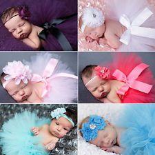 Cute Newborn Toddler Baby Girl Tutu Skirt & Headband Photo Prop Costume…