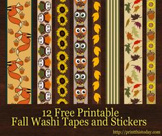 12 Free Printable Fall Washi Tapes and Stickers