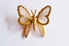 Vintage Monet Butterfly Brooch Pin Gold Tone by YoursOccasionally