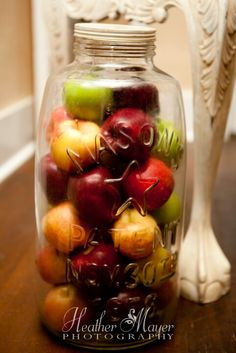 Oversized mason jar with apples...perfect fall  accent decor!