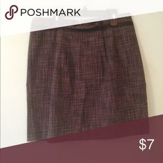 Gray Fine Plaid Knee-Length Skirt Cute skirt with pleated top. Great condition! Merona Skirts A-Line or Full