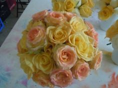 yellow and yellow and pink roses