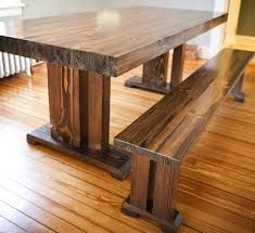 wooden dining table with bench: decoration dining room interior with rustic counter height farm table and solid wood dining table