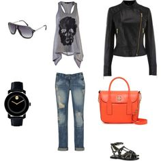 Rocker Chic with a pop of colour. I'd definitely wear this outfit!