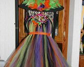 Halloween Witch Costume Tutu Dress  Costume Fancy Witches Hat Sizes 12month-3t. $60.00, via Etsy.