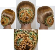 Civil War Era Ball BUN COVER Old GOLD Ribbon and by ZzDesign