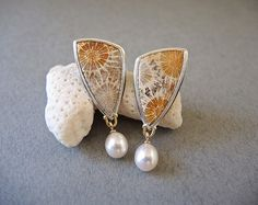 fossil coral, freshwater pearl earrings | betsy bensen | Flickr