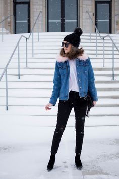 the fur lined denim jacket you need, a denim jacket for all seasons, updated denim jacket for winter, affordable fur trimmed denim jacket, easy and casual winter outfit idea Fur Lined Denim Jacket, Fur Jacket, First Date Outfits, New Outfits, Simple Winter Outfits, Layering Outfits, Winter Skirt, All Black Outfit, How To Wear
