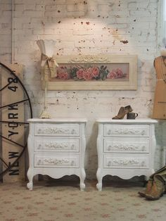 Painted Cottage Chic Pair of Shabby White by paintedcottages, $590.00