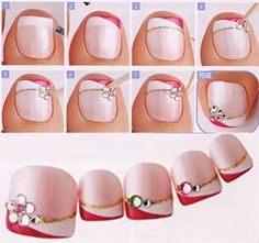 Ideas For French Pedicure Designs Toes White Flowers Toenail Art Designs, Pedicure Designs, Manicure E Pedicure, Simple Nail Designs, Nail Polish Designs, Pedicures, French Pedicure, Nails Design, Pedicure Tips