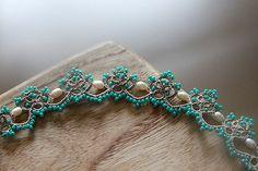 Tatting lace bracelet pdf pattern Baroque Pearl by TheKimAndI