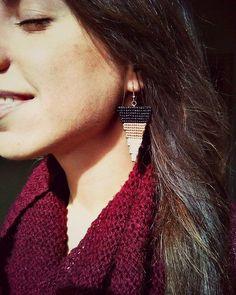Macrame earrings  Geometric earrings  Minimal by TheDancingCord