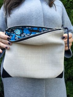 Wild On The Inside leather corners Simple clutch by yaysayerbags