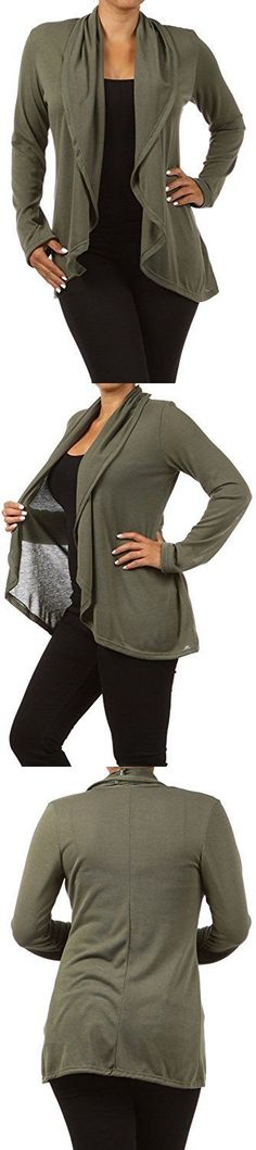 Sweaters 50993: Essential Plus Size Open Front Waterfall Cardigan Sweater For Women 1Xl Olive -> BUY IT NOW ONLY: $34.47 on eBay!
